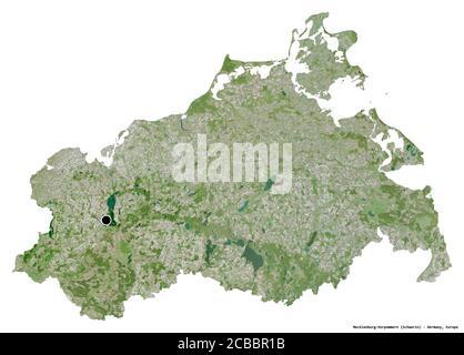 Forme de Mecklembourg-Poméranie-Occidentale, État d'Allemagne, avec sa capitale isolée sur fond blanc. Imagerie satellite. Rendu 3D
