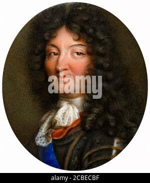 Roi Louis XIV de France (1638-1715), portrait miniature par l'École Jean Petitot, 1650-1699 Banque D'Images