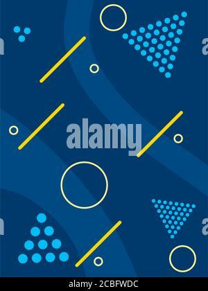 fond bleu avec des formes géométriques et des lignes jaunes sur fond blanc, design coloré, illustration vectorielle Banque D'Images