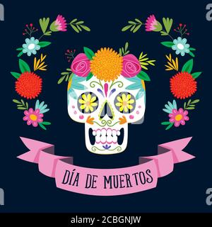 Carte « de los Muertos » (jour de l'mort) avec texte en espagnol. Crâne de sucre mexicain avec décoration florale. Illustration vectorielle. Banque D'Images