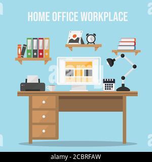 Image vectorielle plate de bureau à domicile. Espace de travail. Intérieur de bureau à domicile. Maison ou studio élégant. Lieu de travail de l'étudiant avec ordinateur. Déi. Plan vecteur