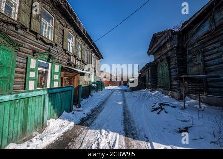 Maison traditionnelle en bois, Irkoutsk, Russie Banque D'Images
