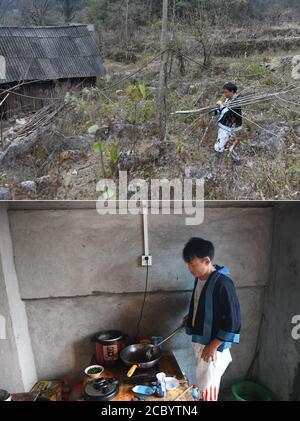 (200817) -- NANDAN, 17 août 2020 (Xinhua) -- dans cette photo combinée, le haut pris le 12 janvier 2018 montre lu Laoai qui rentre à la maison avec du bois de chauffage qui est utilisé comme combustible pour cuisiner des repas, dans le village de Renguang de Lihu Yao Township, Et le plus bas pris le 6 août 2020 montre lu cuisiner un plat avec une table de cuisson à induction dans sa nouvelle maison à l'intérieur d'un site de délocalisation de secours de la pauvreté pour le peuple Baiku Yao, dans le comté de Nandan, dans la région autonome de Guangxi Zhuang au sud de la Chine. Situé dans la partie nord-ouest du Guangxi, le comté de Nandan est connu pour le peuple Baiku Yao, une minorité ethnique connue pour son pan blanc