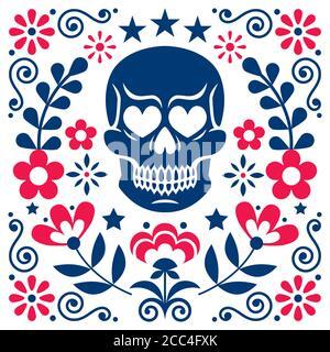 Motif mexicain de fleurs et de têtes de mort, décoration Halloween et Day of the Dead - style d'art populaire Banque D'Images