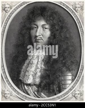 Louis XIV (1638-1715), roi de France, gravure de portraits de Robert Nanteuil, vers 1676 Banque D'Images