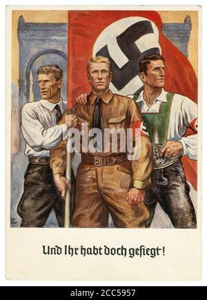 Carte postale historique allemande : 15e anniversaire du putsch de la Beer Hall, résident du Sudetenland, sa Fighter et autrichien avec un drapeau, 1938
