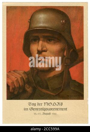 Carte postale historique allemande : portrait d'un soldat dans un casque de campagne en acier. NSDAP fête jour à GeneralgubernSpas, Allemagne, occupé Pologne,1941