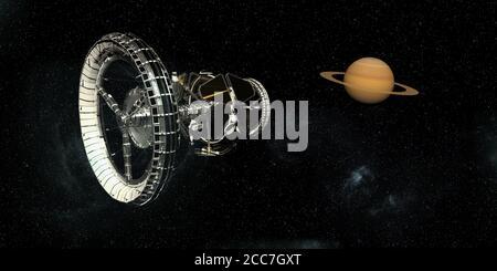 Image 3D futuriste du vaisseau spatial
