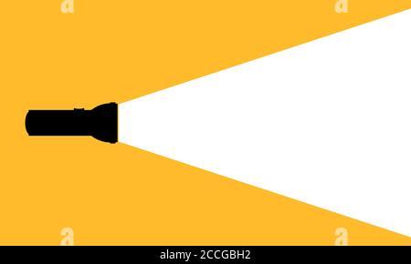 Silhouette d'une lampe de poche sur fond orange. Vecteur sur fond blanc isolé. SPE 10