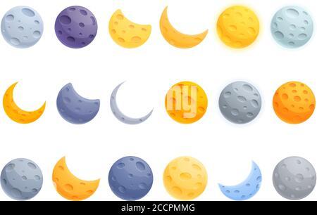 Icônes de lune définies. Ensemble de dessins animés d'icônes de vecteur de lune pour la conception de Web Banque D'Images