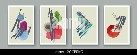 Arrière-plans artistiques abstraits dessinés à la main avec jeu d'éléments de taches d'encre. Peinture texture pinceau décoration formes, objets de doodle, lignes avec art acryli