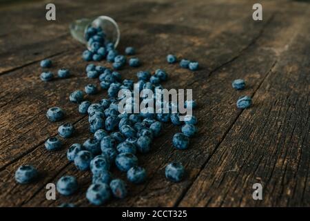 bleuets remplis dans un verre transparent et dispersés