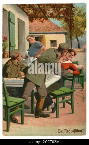 Carte postale historique allemande : humour militaire, « réquisition » d'un soldat « requistion » d'une jeune femme d'un café d'été, World War One 1914-1918