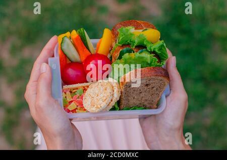 Concept de nourriture saine : jeune fille hipster tenant une boîte à déjeuner remplie de sandwich, pain croustillant, fruits et légumes à l'extérieur. Accent sélectif sur le déjeuner Banque D'Images
