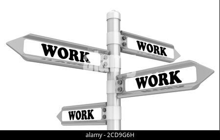 Concept de faible chômage. Signalisation routière avec des mots noirs WORK. Isolé. Illustration 3D Banque D'Images