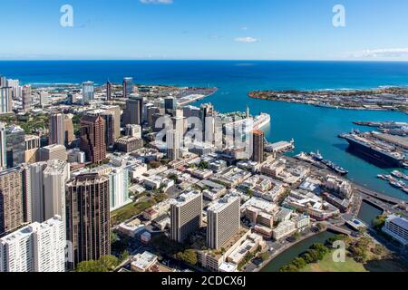 Honolulu; Oahu; Hawaii; aérien; centre-ville; États-Unis Banque D'Images