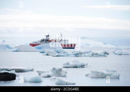 Navire de croisière G Expedition près de Brown Bluff sur l'Antarctique péninsulaire Banque D'Images