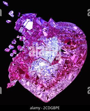 Coeur en cristal brisé : amour ou mort sans demande Banque D'Images