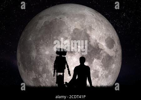 Homme et son ami robot regardant sur la lune. Concept futur, intelligence artificielle