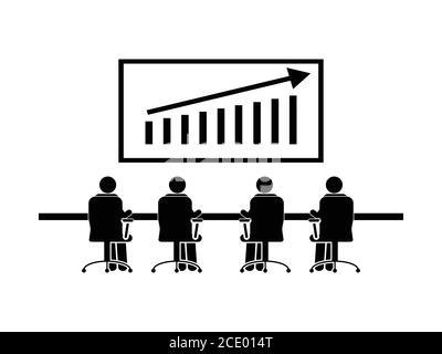 Réunion des ventes de l'équipe. Pictogramme représentant la réunion d'entreprise du groupe discutant de la croissance du chiffre d'affaires des bénéfices des ventes. Vecteur EPS