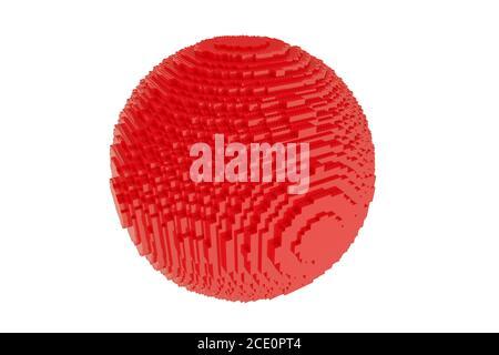 sphère rouge isolée sur fond blanc, en briques de construction en plastique. Rendu 3D d'une balle rouge sur blanc pour l'espace de copie. Banque D'Images