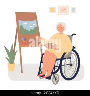 Une vieille femme en fauteuil roulant tire sur un chevalet Banque D'Images