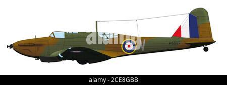 Fairey Battle Mk I (P6597) du RAF de l'escadron no 12. L'avion a été abattu au port français de Boulogne le 19 août 1940