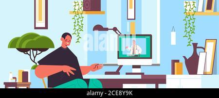 médecin sur l'écran d'ordinateur portable consultation en ligne de patient masculin soins de santé service médecine conseil médical concept salon intérieur portrait horizontal illustration vectorielle