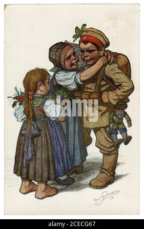 Carte postale historique allemande: Les enfants comme adultes: Le soldat est retourné à sa famille de la guerre, Allemagne, la première guerre mondiale, 1915, par Beithan Emil