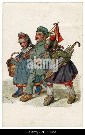 Carte postale historique allemande: Les enfants comme adultes: Le soldat est revenu de la guerre, le héros marche avec deux filles. Par Beithan, Emil Allemagne, 1915
