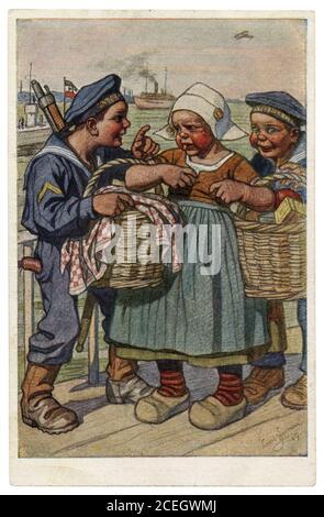 Carte postale historique allemande: Les enfants comme adultes: Marins de la Marine impériale allemande ont routé une fille plus sutler avec des paniers de nourriture, la première guerre mondiale, 1917