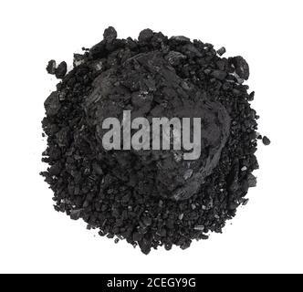 briquette de charbon de bois bbq isolée sur fond blanc avec chemin d'écrêtage et pleine profondeur de champ. Vue de dessus. Pose à plat Banque D'Images