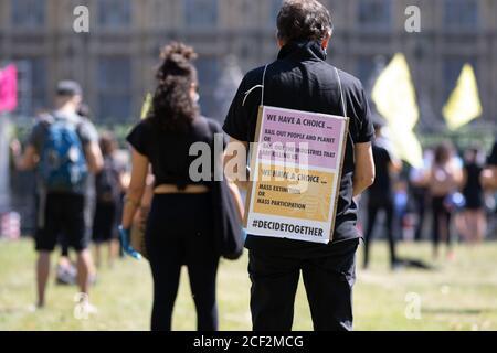 Extinction les manifestants de la rébellion se rassemblent sur la place du Parlement, à Londres