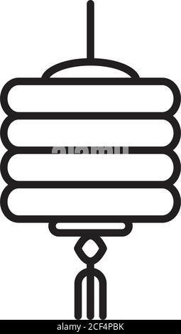 décoration chinoise lanterne style linéaire traditionnel icône illustration vectorielle
