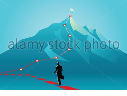 Illustration vectorielle de concept d'entreprise d'un homme d'affaires suivant le rouge lignes qui mènent au sommet d'une montagne Banque D'Images