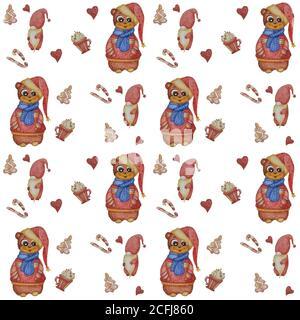 Motifs sans couture. Un adorable ours dans un foulard et un chandail et un chapeau du nouvel an sur fond blanc avec des éléments décoratifs - pain d'épice, caramel et