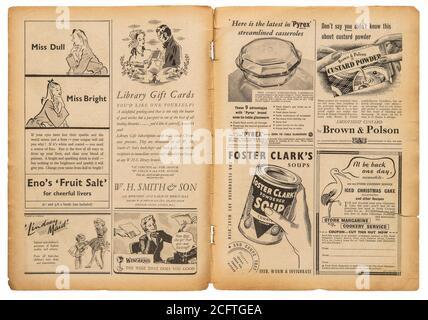 Page de journal avec texte anglais et images publicitaires vintage. Ancien magazine britannique de 1947