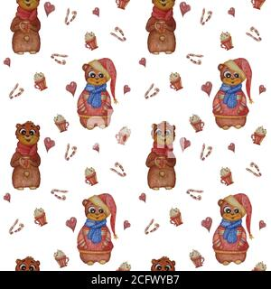 Motifs sans couture. Animaux adorables. Un ours avec une écharpe et une tasse dans ses pattes et un ours en vêtements de Noël sur fond blanc avec des bonbons, des bonbons