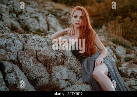 belle femme au gingembre guerrier scandinave furieux en robe grise avec courrier en chaîne métallique. La femme est une Viking. Fantaisie. Couverture de livre Banque D'Images