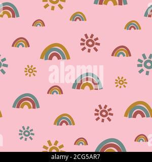 motif vectoriel sans couture motif arc-en-ciel et soleil sur rose