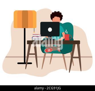travaillant à la maison, homme avec ordinateur livres café tasse sur table, les gens à la maison dans l'illustration de vecteur de quarantaine