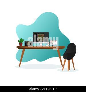 Programmateur illustration de bureau vecteur, conception plate et minimaliste, image supplémentaire inclure calque par calque