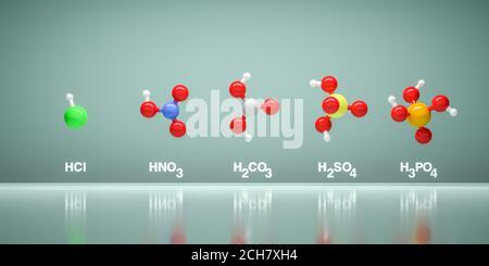 Modèles de molécules acides HCl, HNO3, H2CO3, H2SO4 et H3PO4. Couleurs des atomes : blanc hydrogène, gris carbone, bleu d'azote, vert chlore, rouge oxygène, Sulfu Banque D'Images