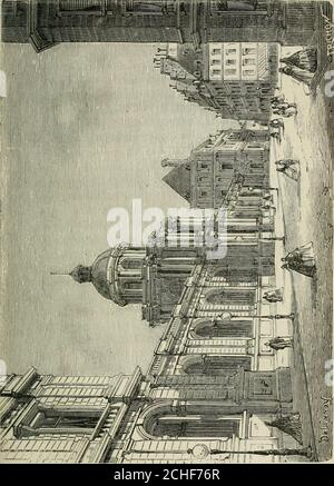 . Les merveilles du Nouveau Paris-- . -Royal. Louis XIV le donna Plustard au duc dOrléans, son frère, et depuis cette époque il a été lapanage des princes du sang. Un incendiaire detruisit lafaçade en 1763; Louis-Philippe dOrléans, petit-fils durégent, chargea Moreau de la réinterprétation. Ilfit aussi élever autour du jardrn ces magnifiques galeries oùlindustrie parisienne conte ses plus belles productions dor-févrerie et de bijouterie. Les vieux marronniers de Richanieutombaient pour faire place à ces constructions. La façade sur le jardin devant être équipée sur un plan gran-dios