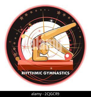 Gymnastique rythmique. Fille avec une balle. Illustration vectorielle isolée sur fond blanc. Être en compétition internationale. Emblème ou logo. Banque D'Images