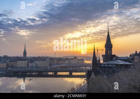Sunrise city skyline at Stockholm Gamla Stan et Slussen, Stockholm Suède