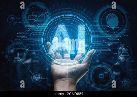 L'apprentissage et l'Intelligence Artificielle IA Notion - Interface graphique montrant l'icône ordinateur, la pensée de la machine et de l'ia l'Intelligence Artificielle de Digital