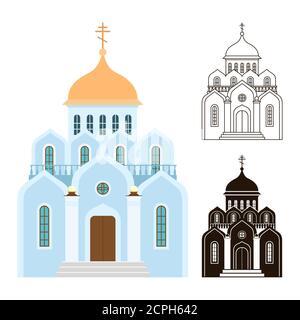 Icônes vectorielles des églises orthodoxes. Bâtiments religieux isolés sur fond blanc. Illustration de l'église orthodoxe pour la religion chrétienne, bâtiment d'architecture