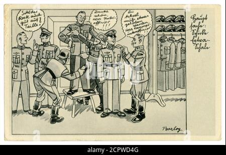 Carte postale historique allemande : un unteroffizien met un soldat dans un nouvel uniforme militaire. Brush the recy, série satirique, par Barlog, Allemagne, 1939