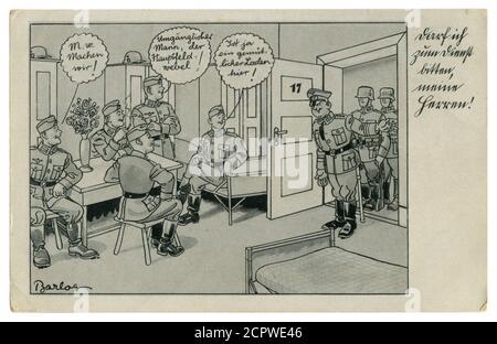 Carte postale historique allemande : les soldats fument dans les casernes. Inconduite. Le sergent demande à aller avec lui, série satirique, par Barlog, Allemagne, 1939
